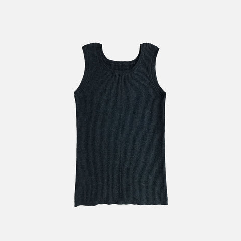 Knitted Cotton Rib Tank Top - Anthracite - 3y