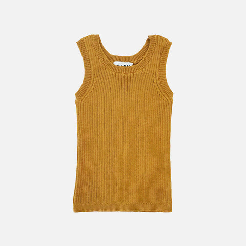Knitted Cotton Rib Tank Top - Bronze - 12m-8y