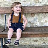 Knitted Cotton Rhesi Shorts with Suspenders - Indigo - 12m-4y