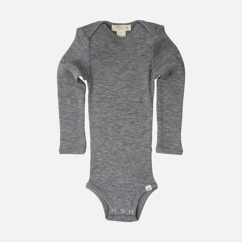 Merino Alaska Long Sleeve Body - Grey Melange - 1m-3y