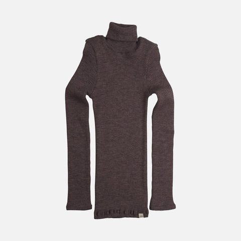 Merino Alf Seamless Polo Neck Rib Top - Plum - 2-10y