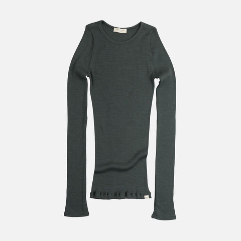Merino Atlantic Seamless Rib Round Neck Top - Jade Green - 2-10y