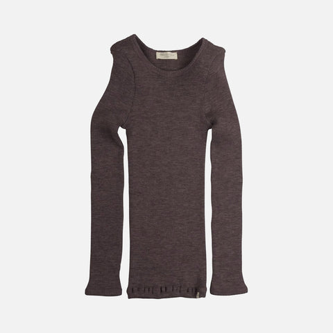 Merino Atlantic Seamless Rib Round Neck Top - Plum - 2-10y