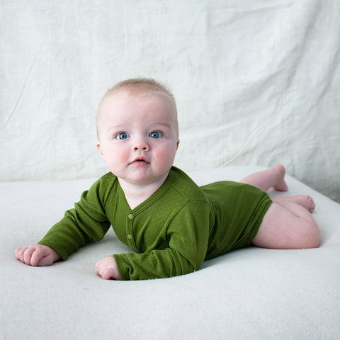 Cotton Pointelle Body - Grass Green - 0-24m