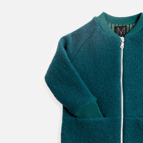 Boiled Wool Bomber Jacket - Petrol - 3-8y