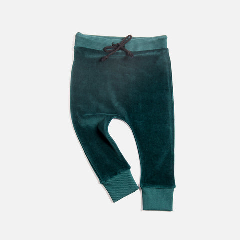 Organic Cotton Velour Pants - Emerald - 0-8y