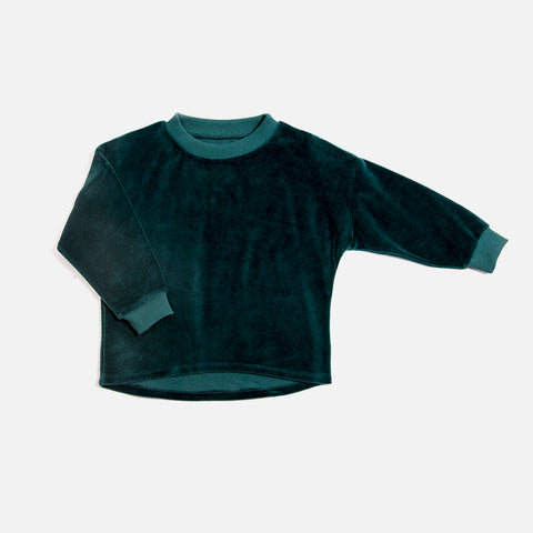 Organic Cotton Velour Sweater - Emerald - 1-8y