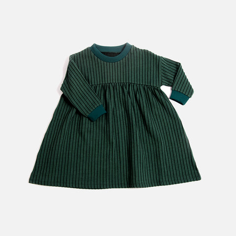 Organic Cotton Stripe Dress - Emerald - 1-8y