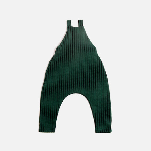 Organic Cotton Stripe Dungarees - Emerald - 3m-5y