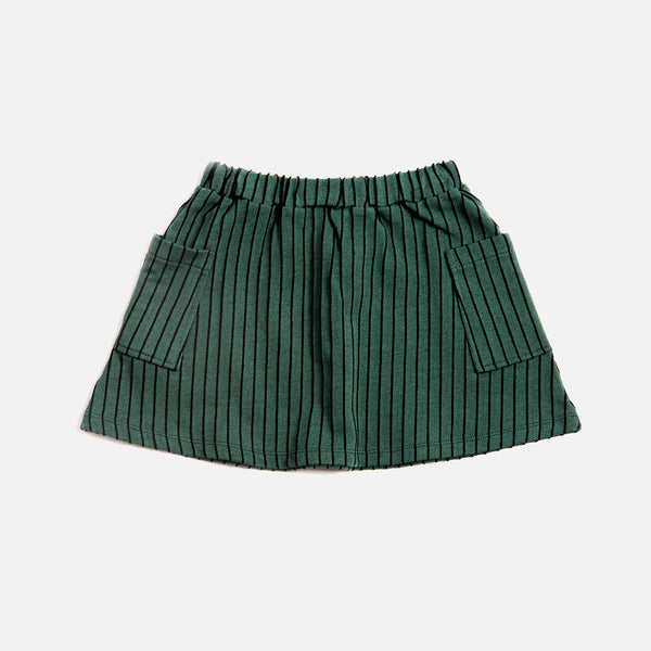 Organic Cotton Stripe Pocket Skirt - Emerald - 2-8y