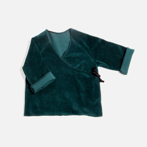 Organic Cotton Velour Baby Wrap Cardigan - Emerald - 0-12m
