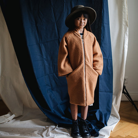 Boiled Wool Coat - Terracotta - 4-8y