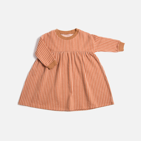 Organic Cotton Stripe Dress - Terracotta - 1-8y