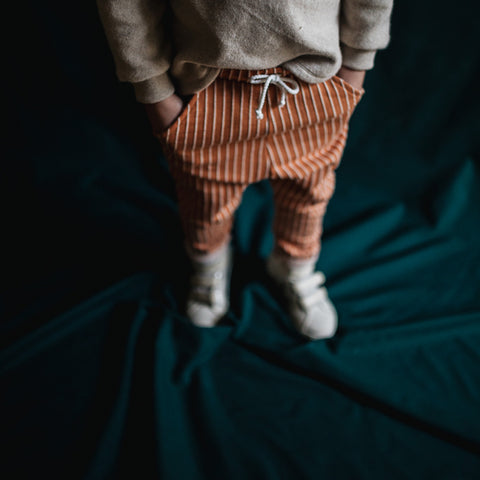Organic Cotton Stripe Pocket Pants - Terracotta - 1-8y