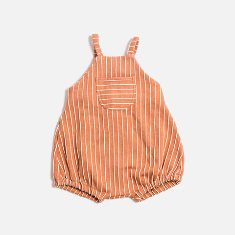Organic Cotton Stripe Romper - Terracotta - 6m-3y