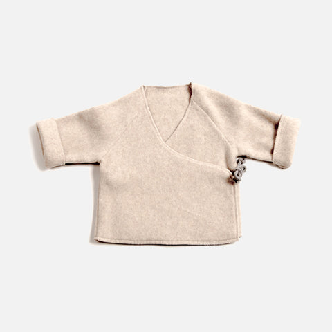 Organic Cotton Wrap Cardigan - Nude - 0-12m