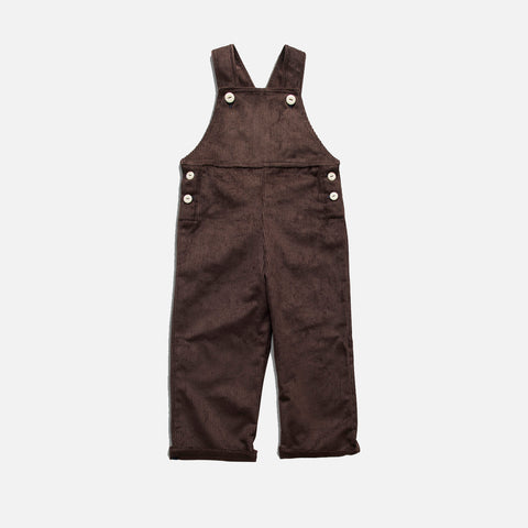 Cotton Corduroy Docker Overall - Conker Brown - 1-7y