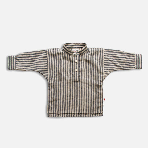 Linen Field Grandad Shirt - Butchers Stripe - 1-7y