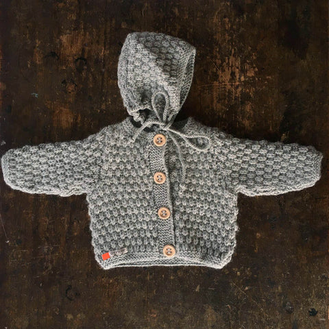 Hand-knitted Merino/Alpaca Baby Jacket and Bonnet - Light Grey - 0m-2y