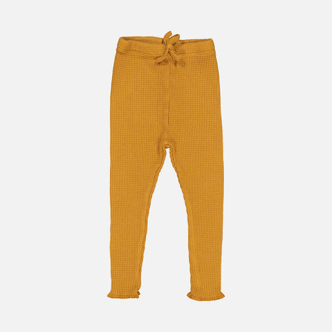 Cotton Honeycomb Milo Bee Leggings - Mustard - 2-8y