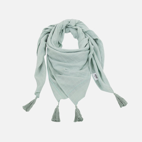 Large Muslin Raoul Scarf with Pompons - Green