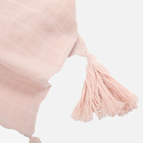 Large Muslin Raoul Scarf with Pompons - Rose