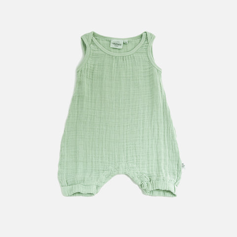 Cotton Muslin Kiko Romper - Green - 3y