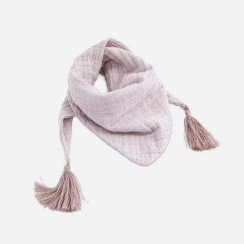 Muslin Misha Scarf with Pompons - Rose