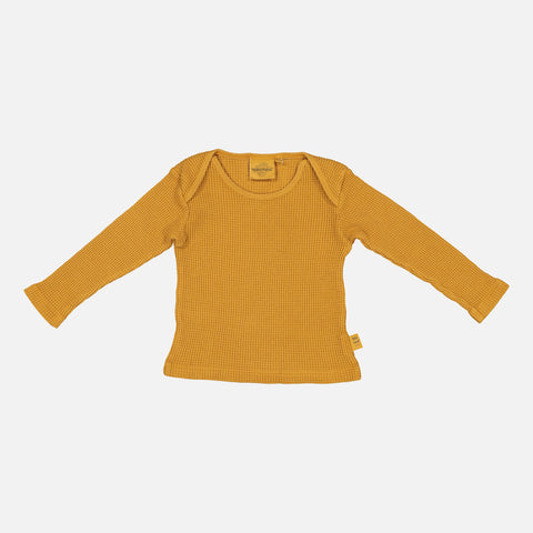 Cotton Honeycomb Mu Bee LS Top - Mustard - 2-8y