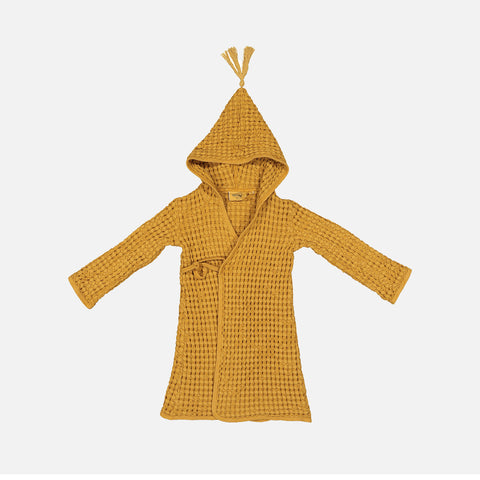 Cotton Honeycomb Pepin Bee Bathrobe - Mustard - 2-6y