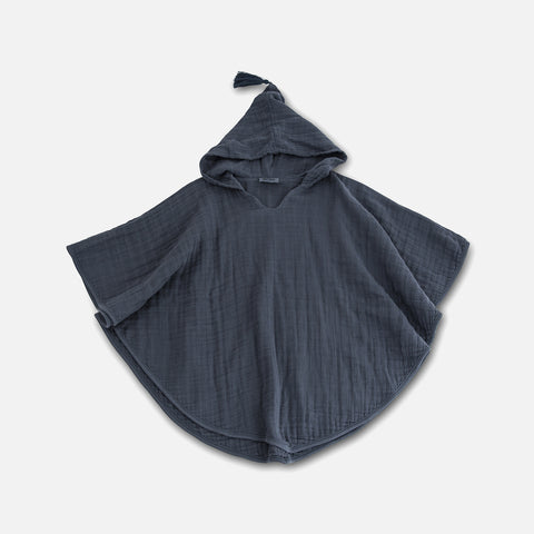 Cotton Muslin Children's Poncho - Stone