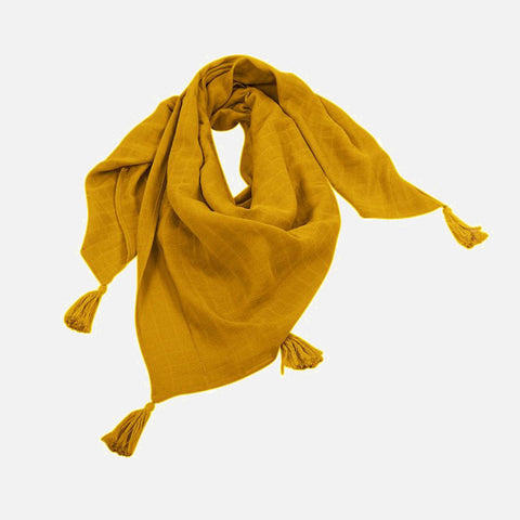 Women's Cotton Muslin Raoul Scarf - Mustard OR Stone