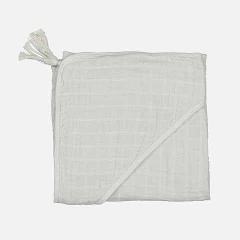 Cotton Muslin Sybel Baby Hooded Towel with Pompon - Almond