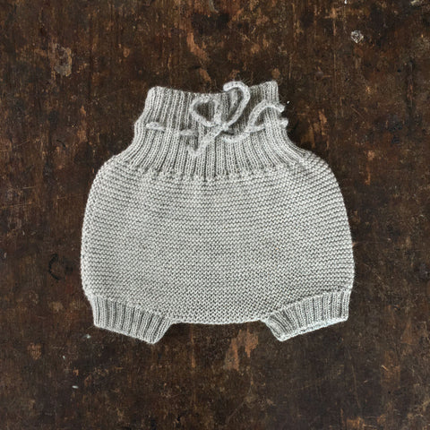 Hand knitted Alpaca Baby Bloomers - Light Grey - 0-2y
