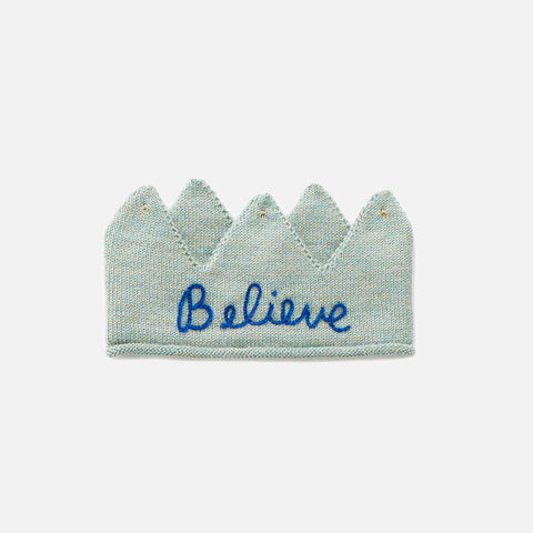 Alpaca Embroidered 'Believe' Crown - Ocean/ Electric Blue
