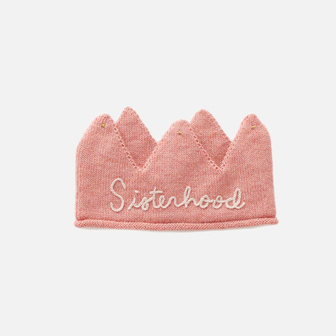 Alpaca Embroidered 'Sisterhood' Crown - Peony/Light Pink