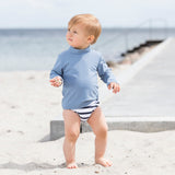 Leo Swim Nappy - White/Blue Stripe