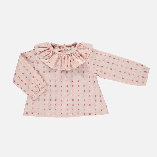 Organic Cotton Martha Tunic Blouse - Pink Embroidery - 6-18m