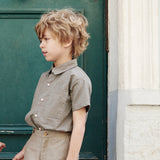 Organic Cotton Alfredo Shirt - Olive Checks - 2y & 5-10y