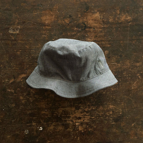 Organic Cotton Sun Hat - Dark Grey Chambray - 3-12y