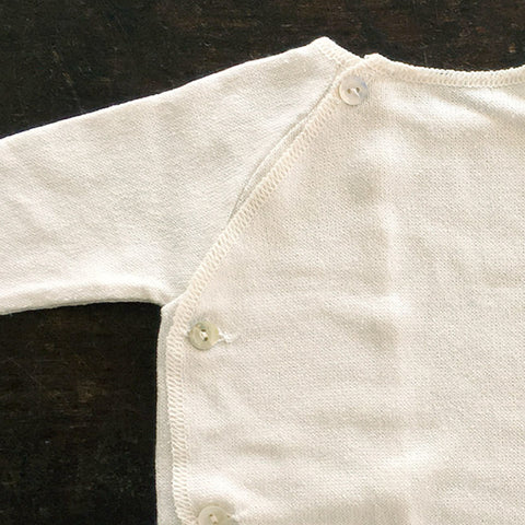 Bourette Silk Fine Knit Top With Side Close Cardigan - Natural - 3m-2y