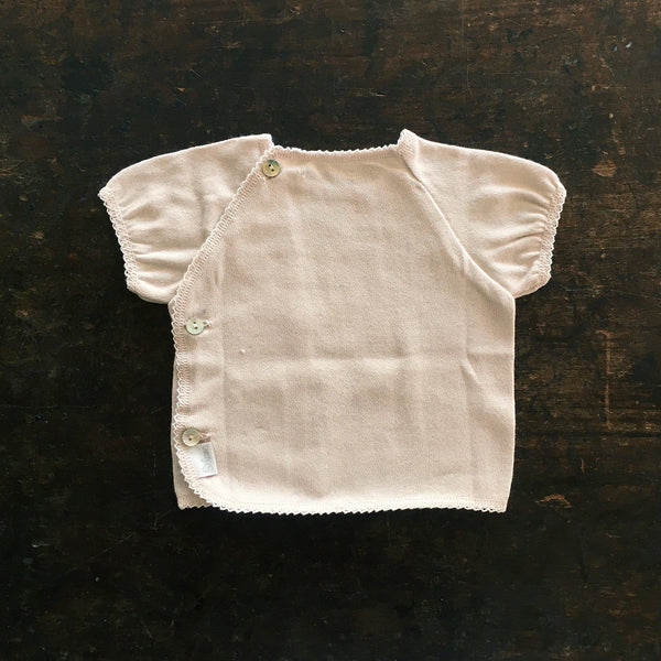 Organic Cotton Top With Crochet - Dune - 0-3y