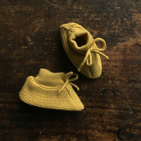 Organic Fine Knitted Merino Booties - Gold