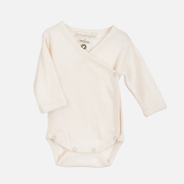 Organic Cotton Rib Pointelle Newborn Wrap Body - Offwhite