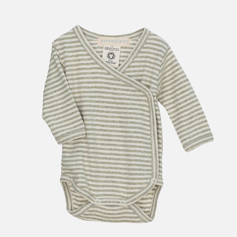 Organic Cotton Rib Stripe Newborn Wrap Body - Sage/ Ecru