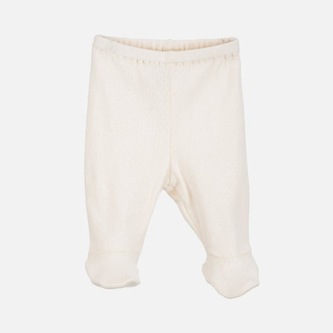 Organic Cotton Pointelle Newborn Pants with Feet - Offwhite