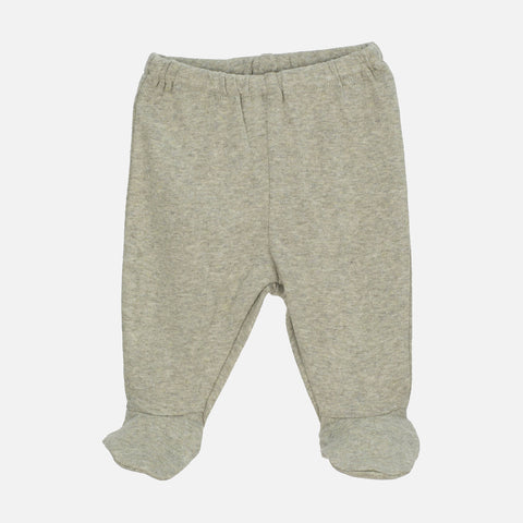 Organic Cotton Rib Newborn Pants with Feet - Sage