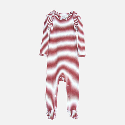 Organic Cotton Baby Suit Stripe - Cayenne/Off White