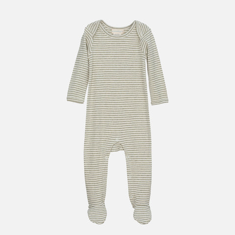 Organic Cotton Baby Suit Stripe - Sage/Ecru