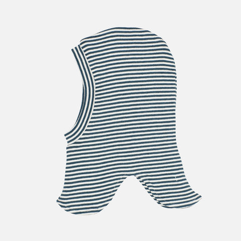 Organic Cotton Rib Stripe Balaclava- Atlantic/ Ecru